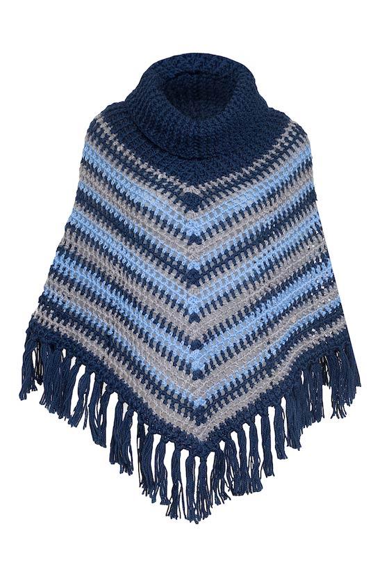 poncho in lana con frange