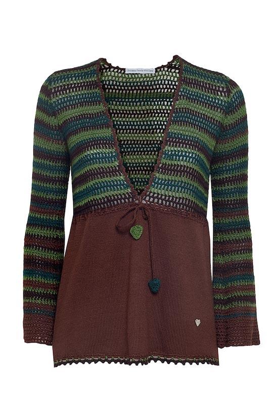 maglia donna scollo a v in lana righe marroni Princess Handle With Care