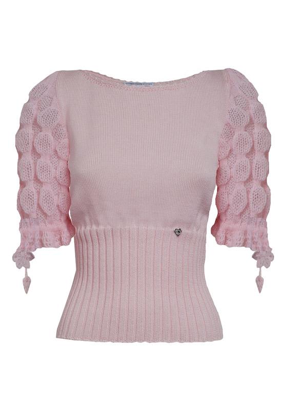 maglioncino mezze maniche mohair rosa Princess Handle With Care