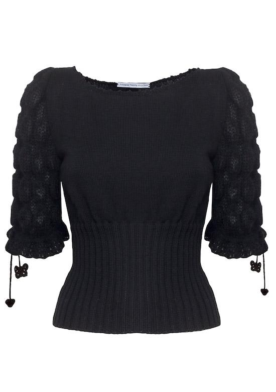 maglia nera in lana mohair a mezze maniche maglioncino mezze maniche mohair celeste Princess Handle With Care