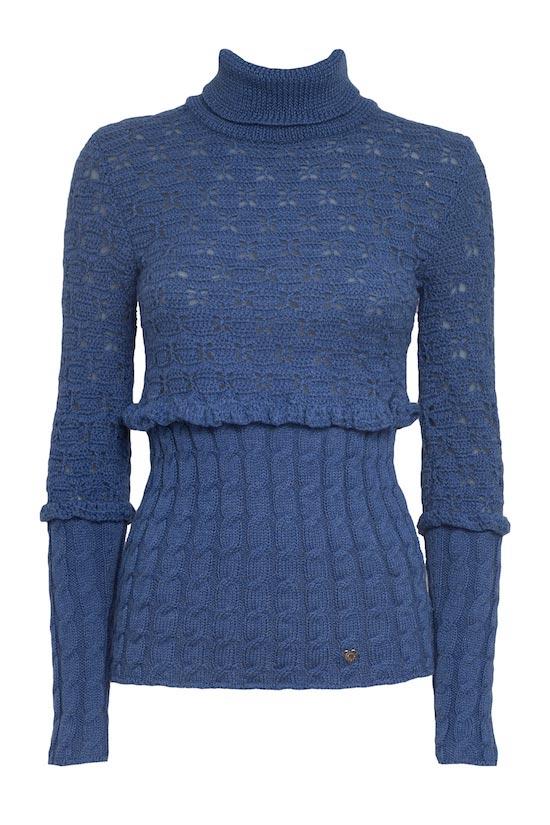 collo alto blu in lana merino trecce volant maglioncino mezze maniche mohair celeste Princess Handle With Care