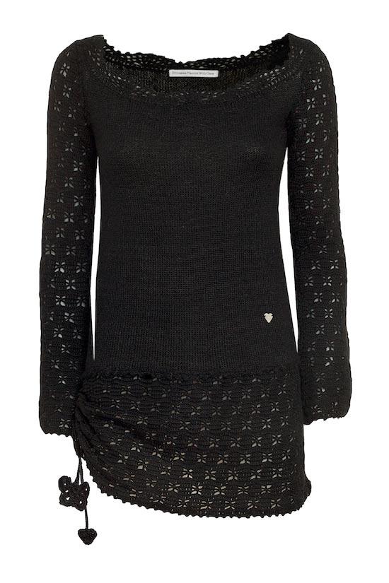 maglia lunga nera in lana merino mohair pon pon maglioncino mezze maniche mohair celeste Princess Handle With Care