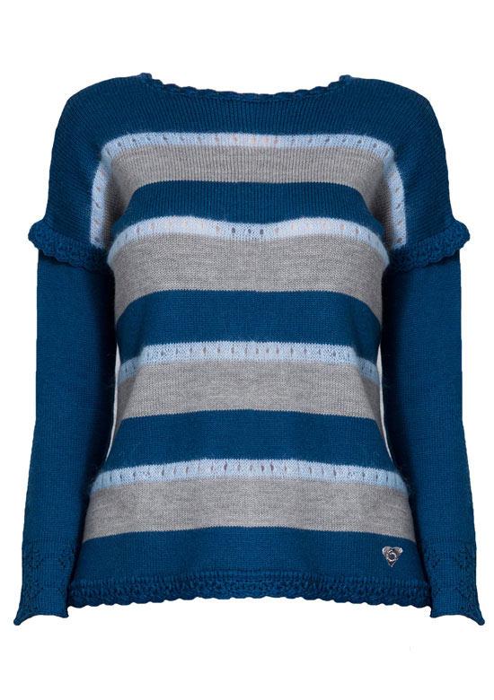 maglione mohair merino a righe blu Princess Handle With Care