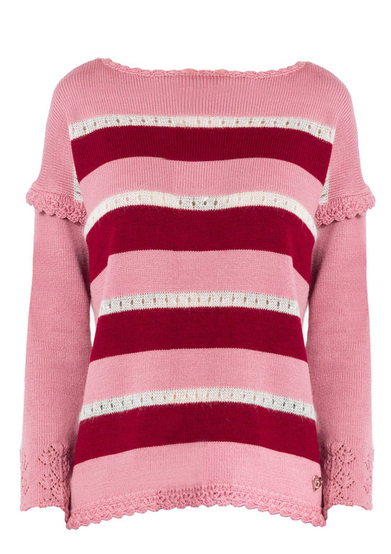 maglione mohair merino a righe rosa Princess Handle With Care
