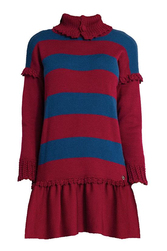 abito in lana righe collo alto apribile merino con gonna balza Princess Handle With Care